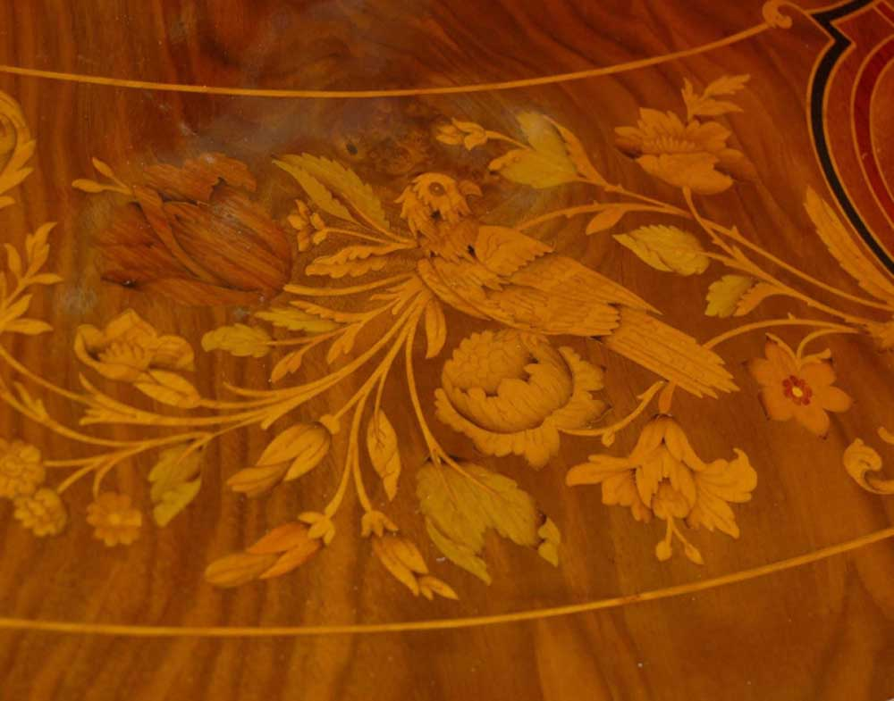 8 Foot Italian Marquetry Dining Table 8 Queen Anne Chairs