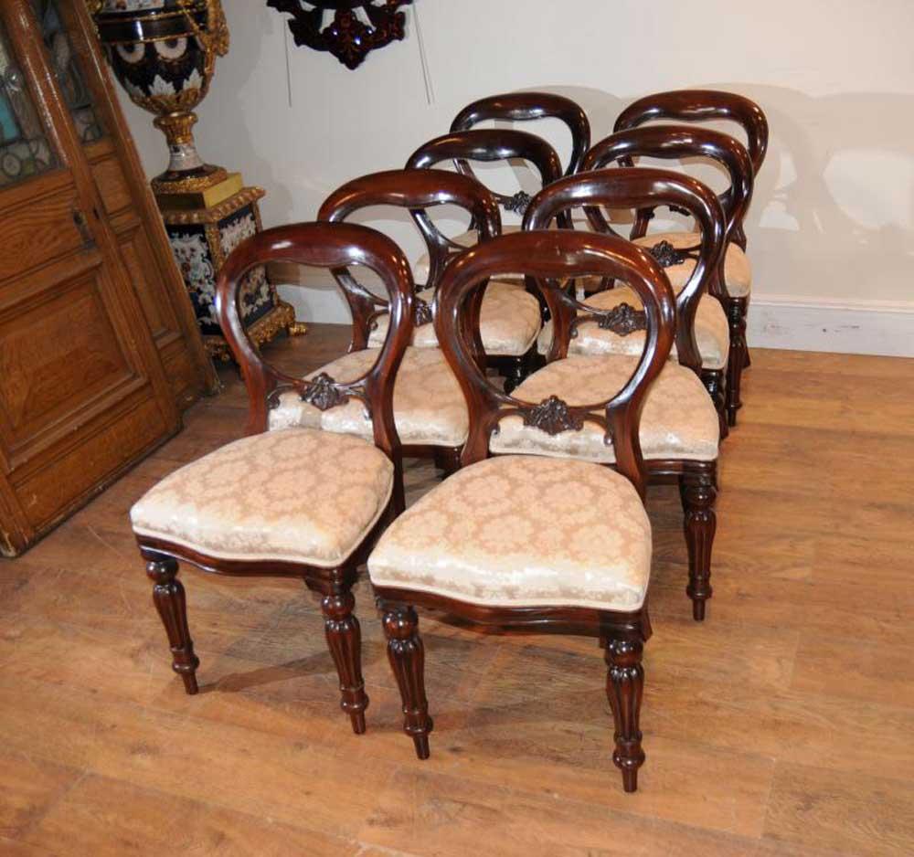 8 Mahogany Victorian Dining Chairs Balloon Back