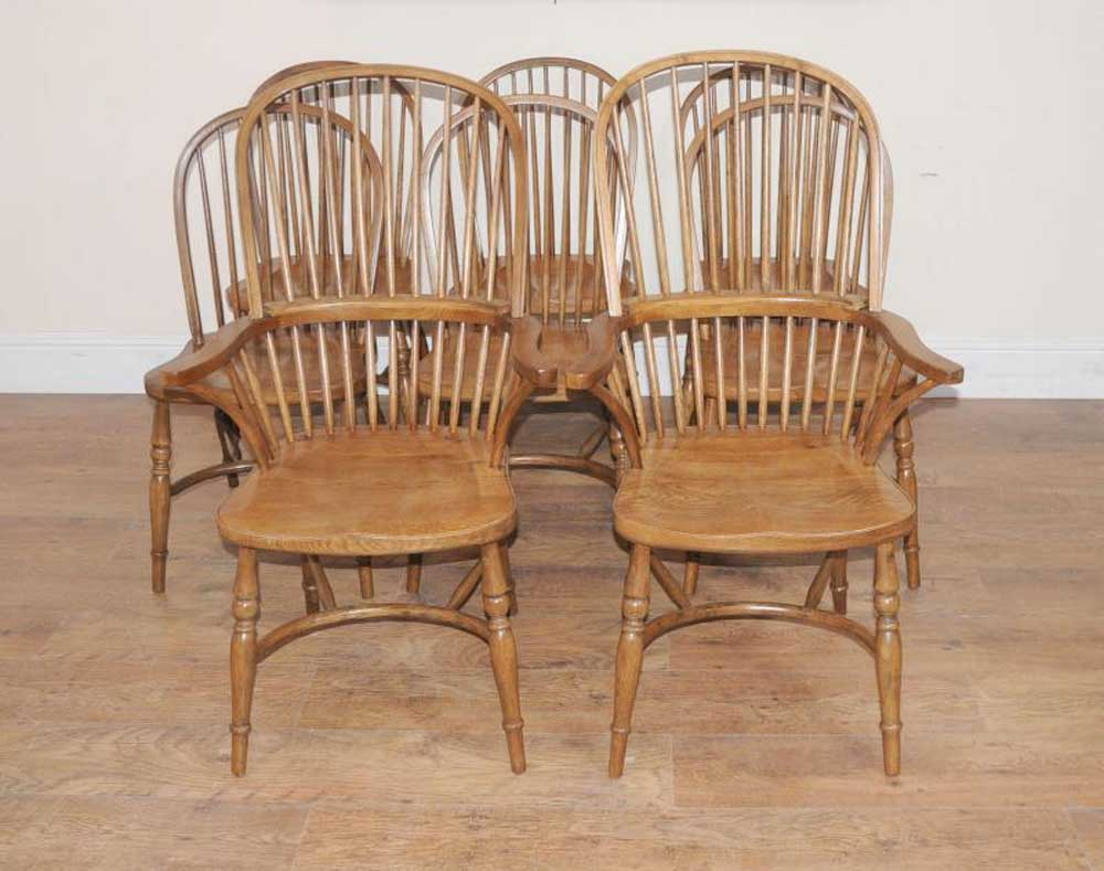 8 oak windsor kitchen dining chairs farmhouse chair ebay for Oak dining room chairs