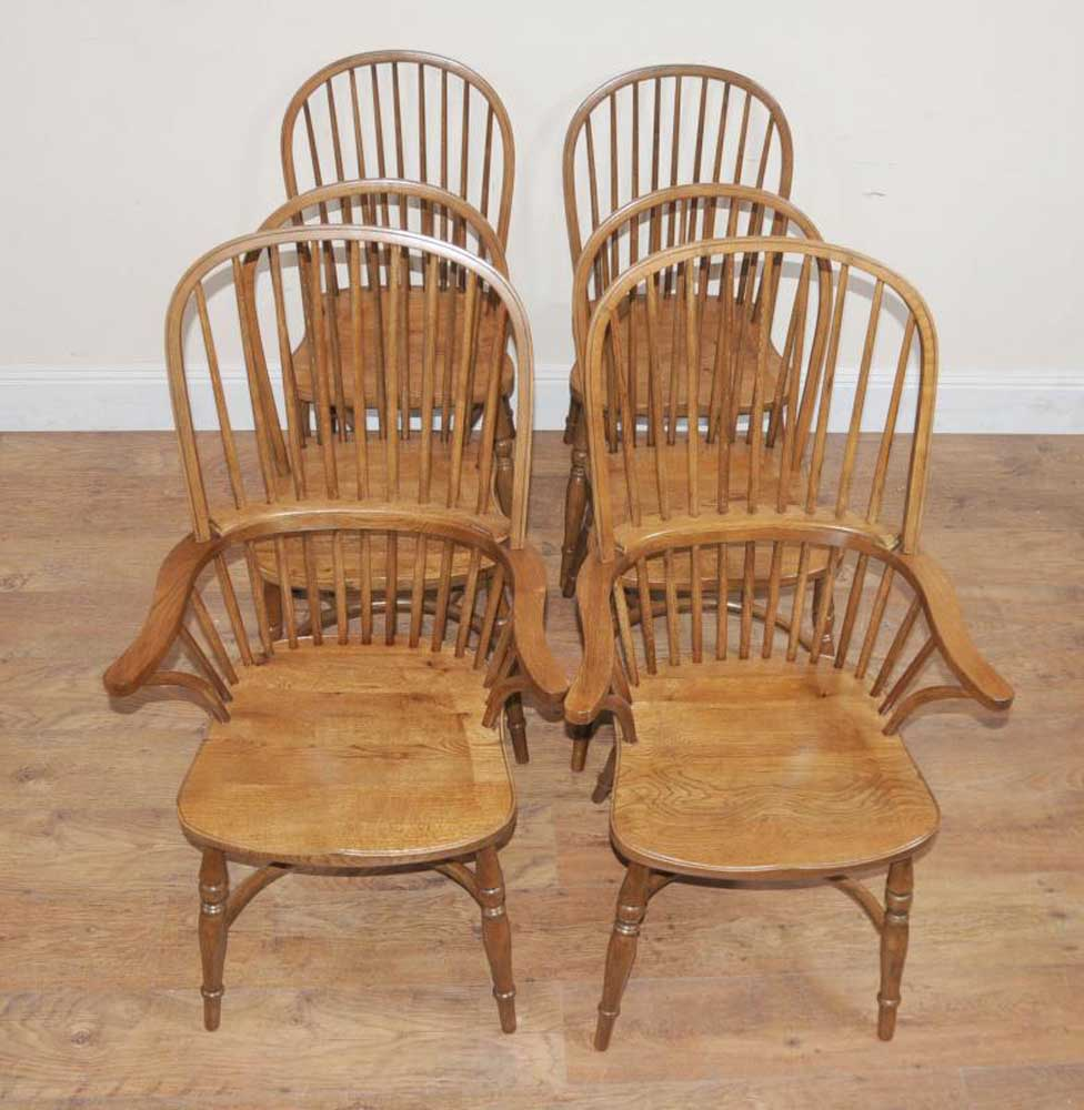 Chairs For The Kitchen: 8 Oak Windsor Kitchen Dining Chairs Farmhouse Chair