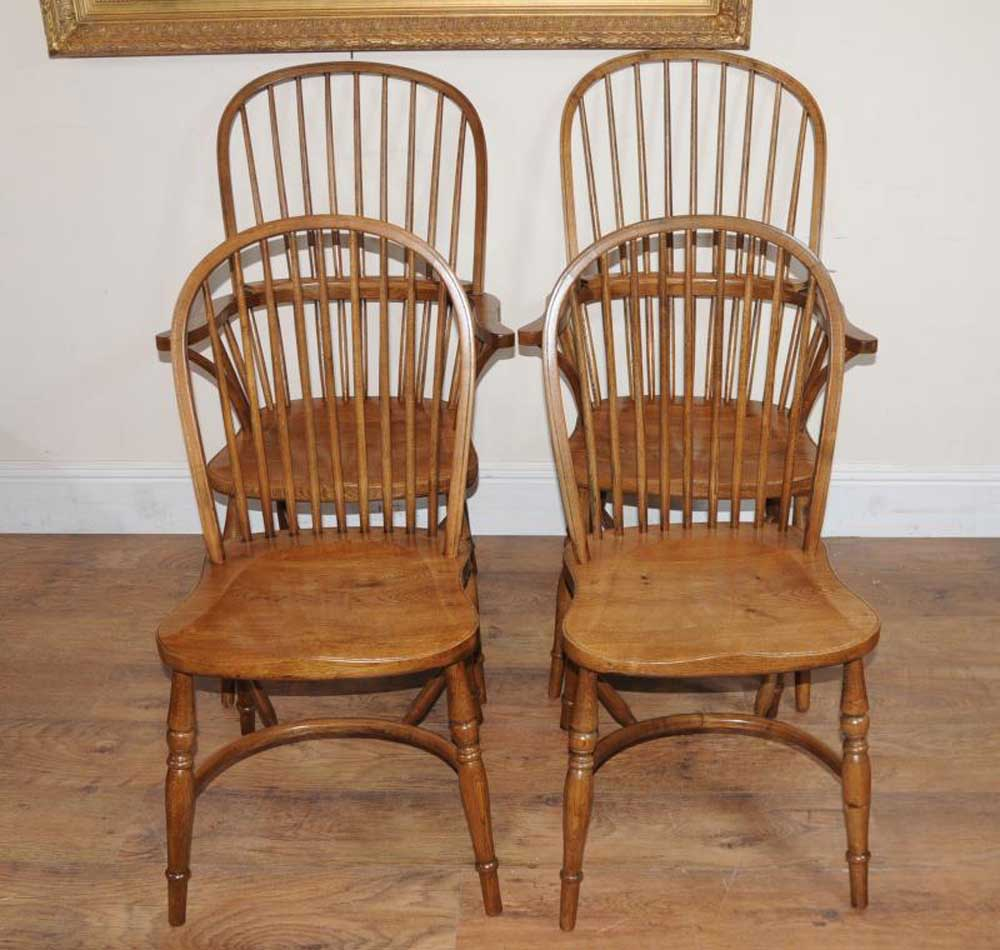 8 Oak Windsor Kitchen Dining Chairs Farmhouse Chair