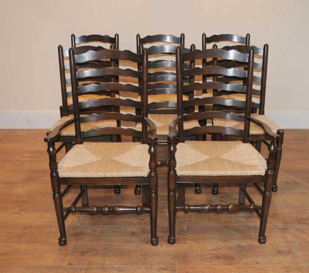 Chairs For Kitchen: 8 Solid Oak Pad Foot Ladderback Kitchen Chairs