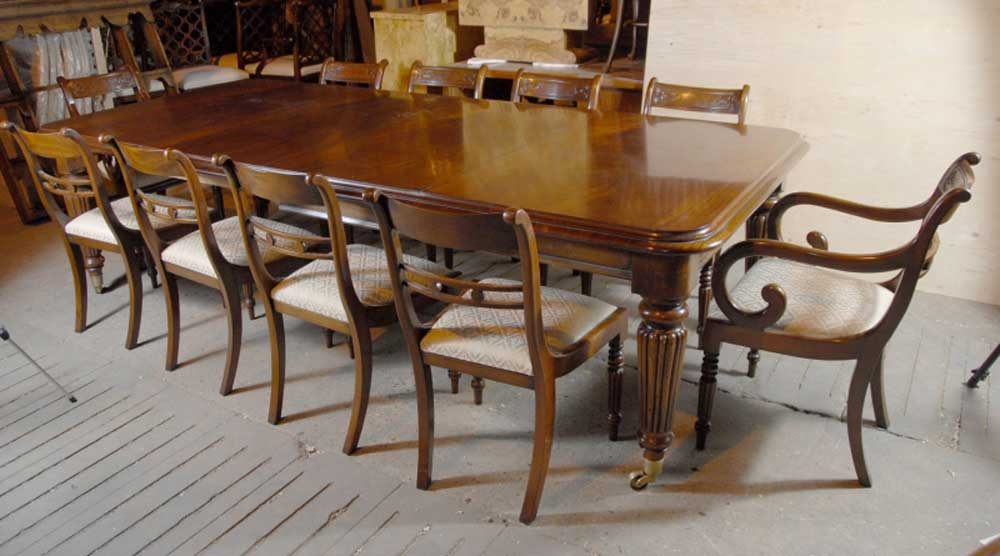 Victorian dining table set with 10 regency mahogany for Matching dining room furniture