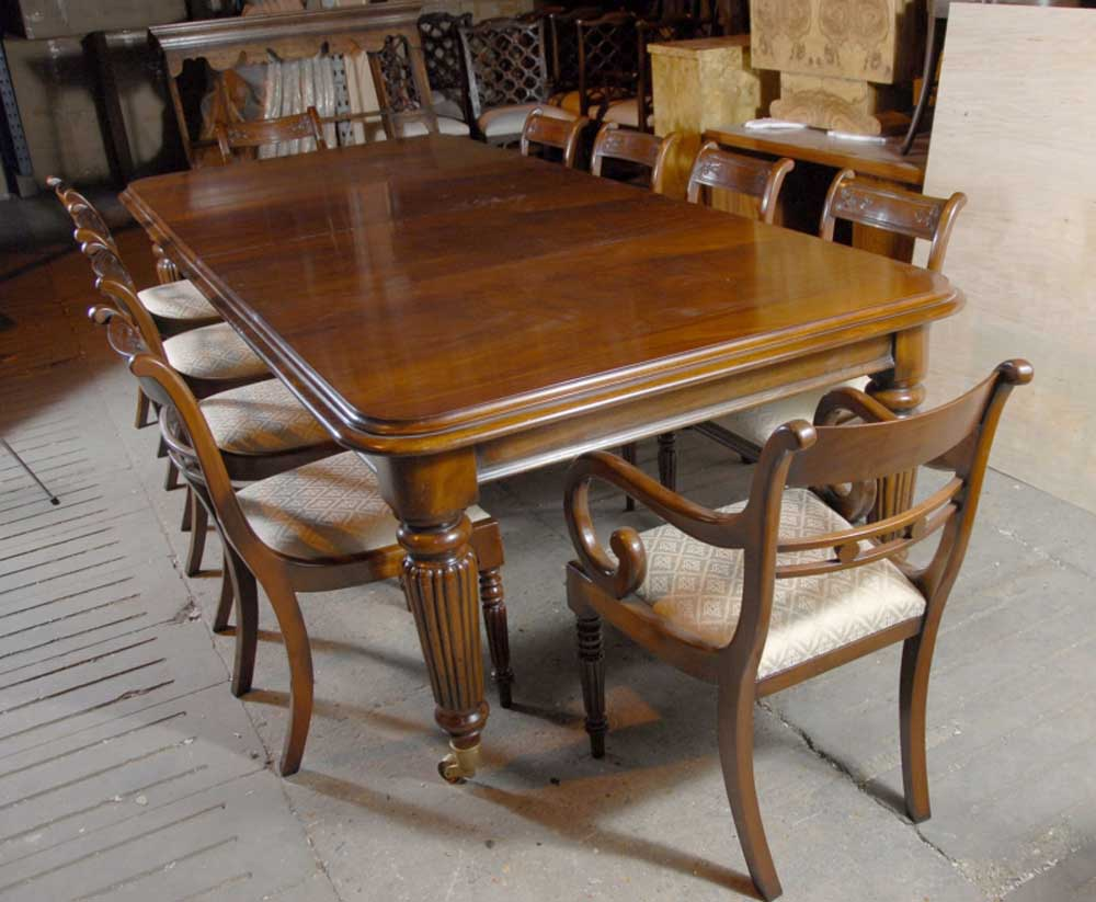 9 Ft English Victorian Dining Table 10 Regency Chairs