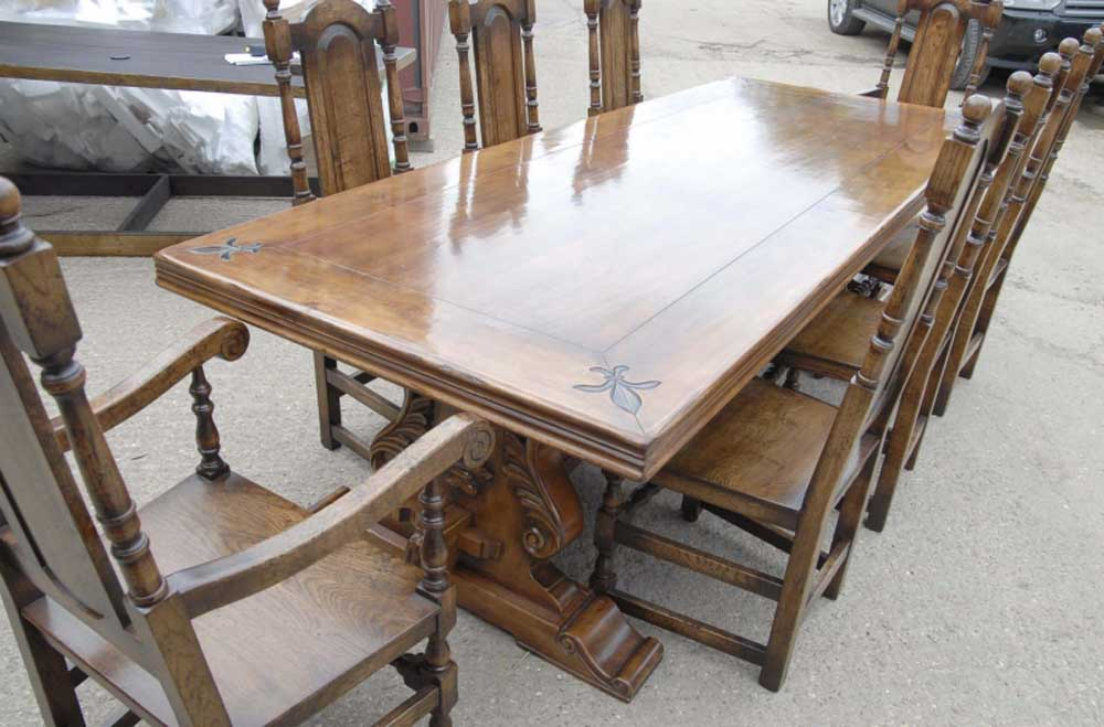 9 Ft French Rustic Refectory Table William Mary Chairs Dining Set