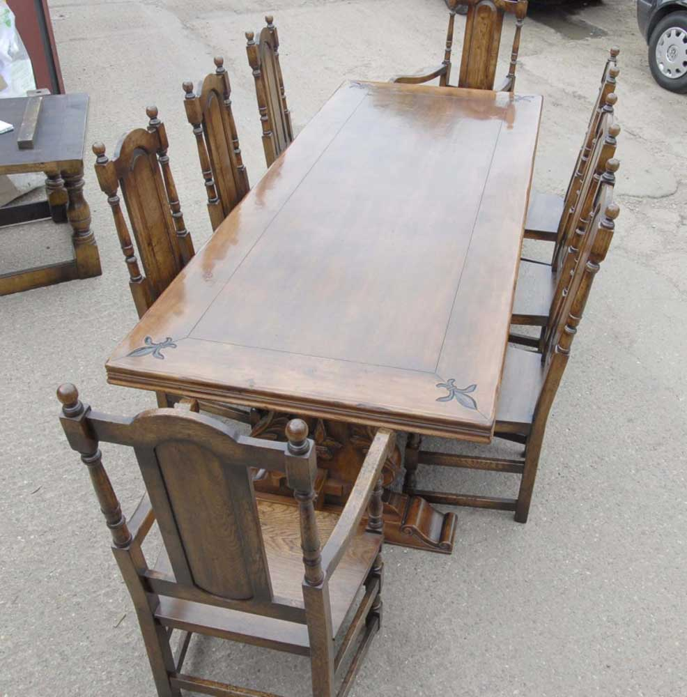 9 Ft French Rustic Refectory Table Amp William Mary Chairs
