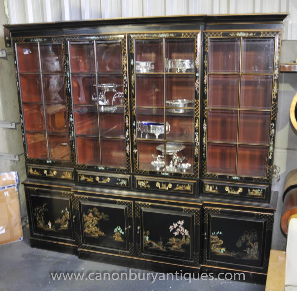 Antique Black Lacquer Breakfront Bookcase Chinoiserie Furniture