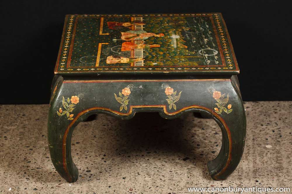 Antique Black Lacquer Chinoiserie Stool Side Table Hand