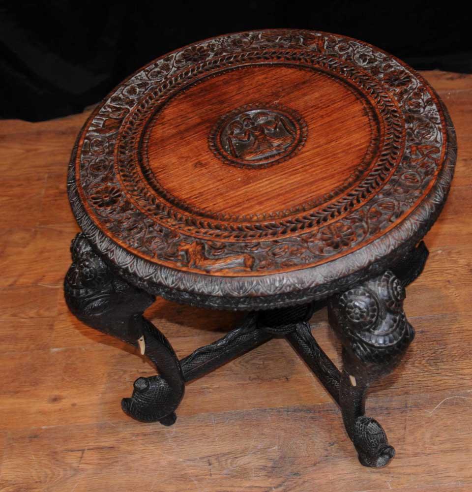 Antique burmese hand carved elephant side table coffee tables Carved coffee table
