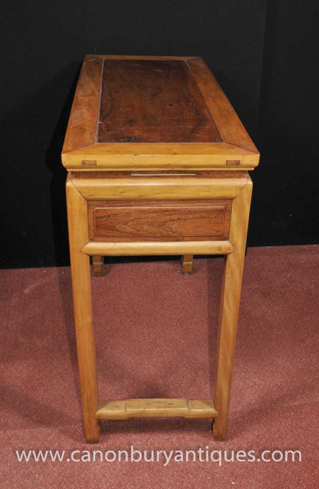 Antique Chinese Hall Console Table Faux Bamboo Circa 1890