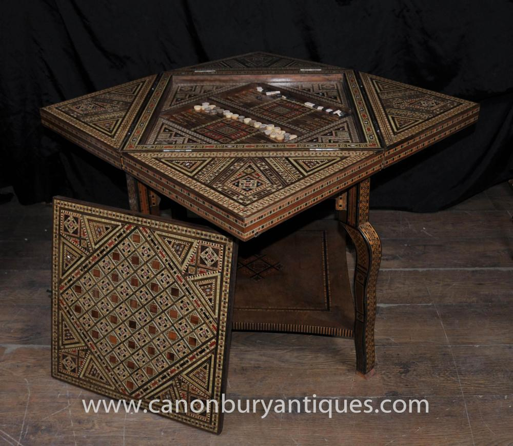 antique damascan games table side backgammon tables damascus