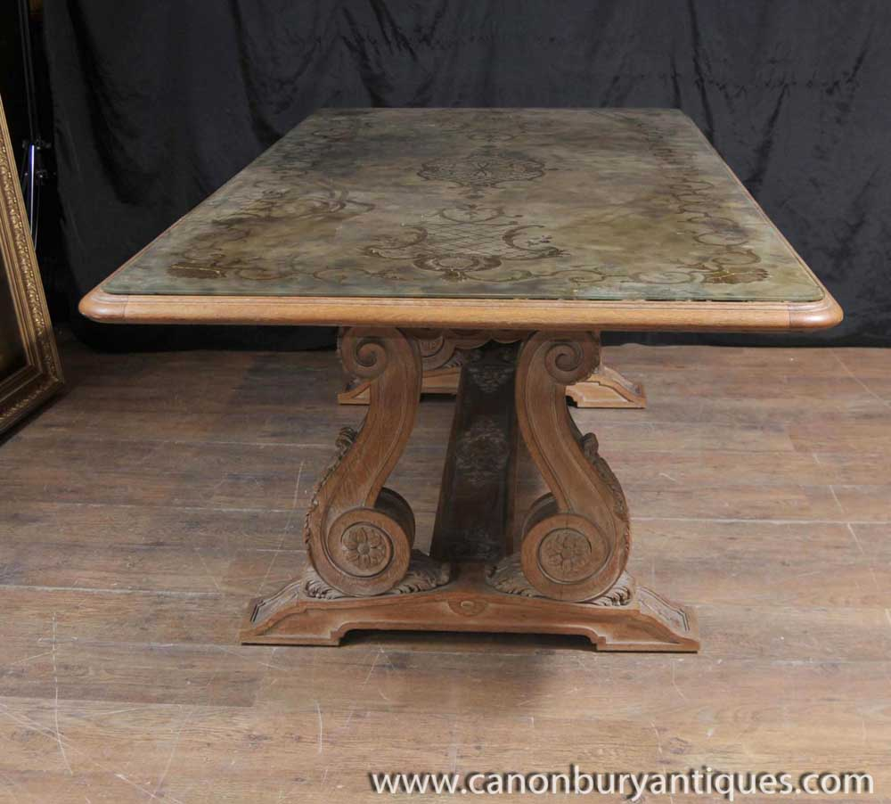 Antique french art nouveau eglomise dining table glass topped inlay - Antique french dining tables ...