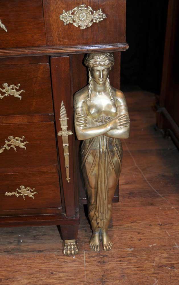 Antique French Empire Pedestal Desk Writing Table Bureau