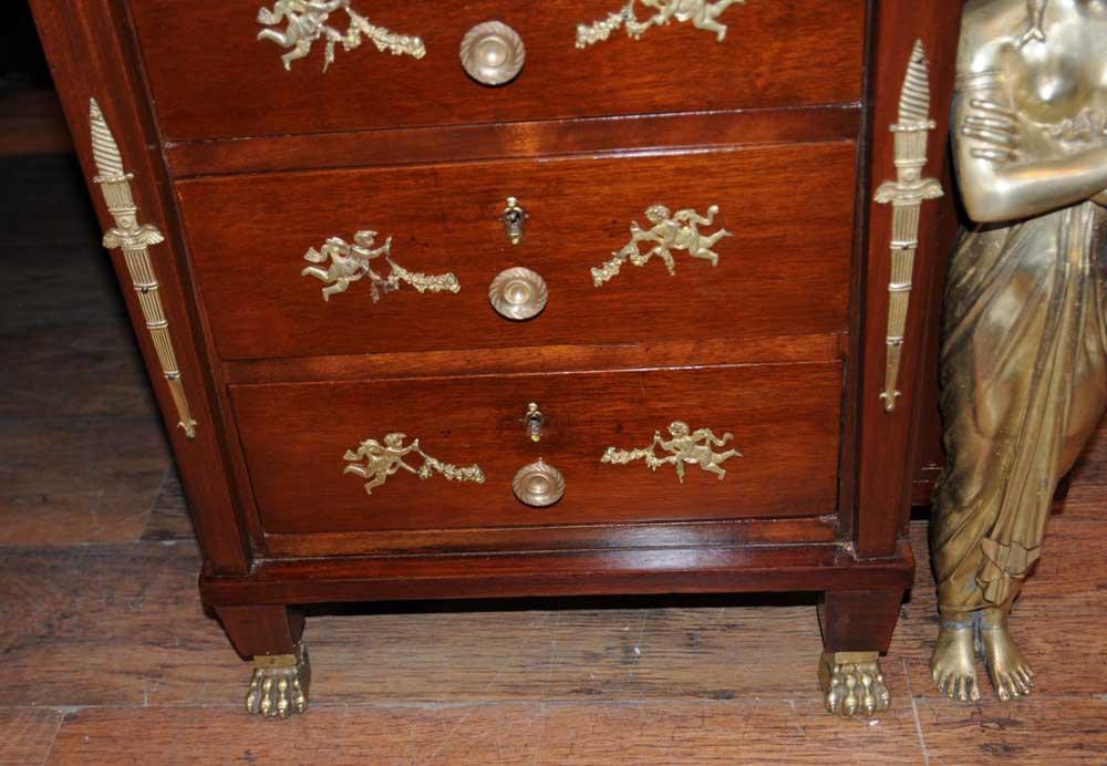 antique french empire pedestal desk writing table bureau. Black Bedroom Furniture Sets. Home Design Ideas