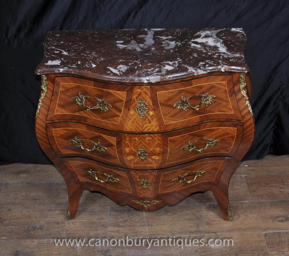Antique French Louis Xv Bombe Commode Chest Drawers
