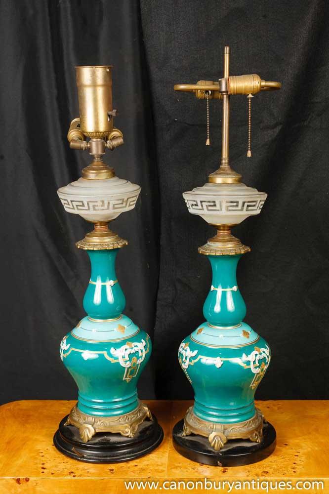 Antique French Nouveau Table Lamps Porcelain Cut Glass