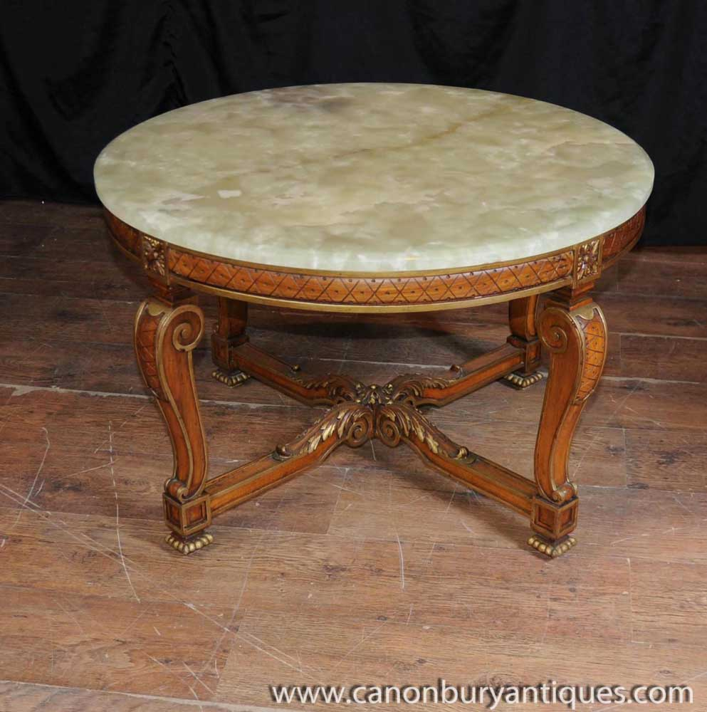 Old Coffee Tables: Antique French Walnut And Onyx Coffee Table Cocktail Tables