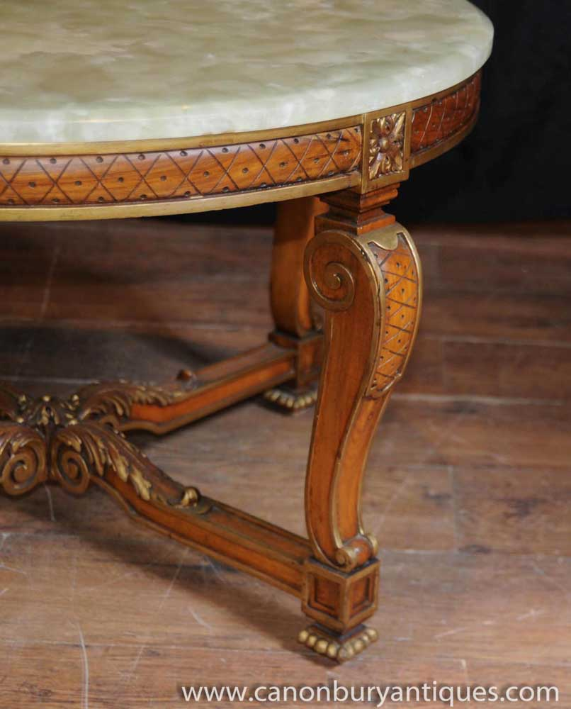 Antique Coffee Tables Ireland: Antique French Walnut And Onyx Coffee Table Cocktail Tables