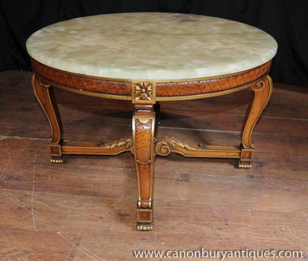 Antique French Walnut And Onyx Coffee Table Cocktail Tables