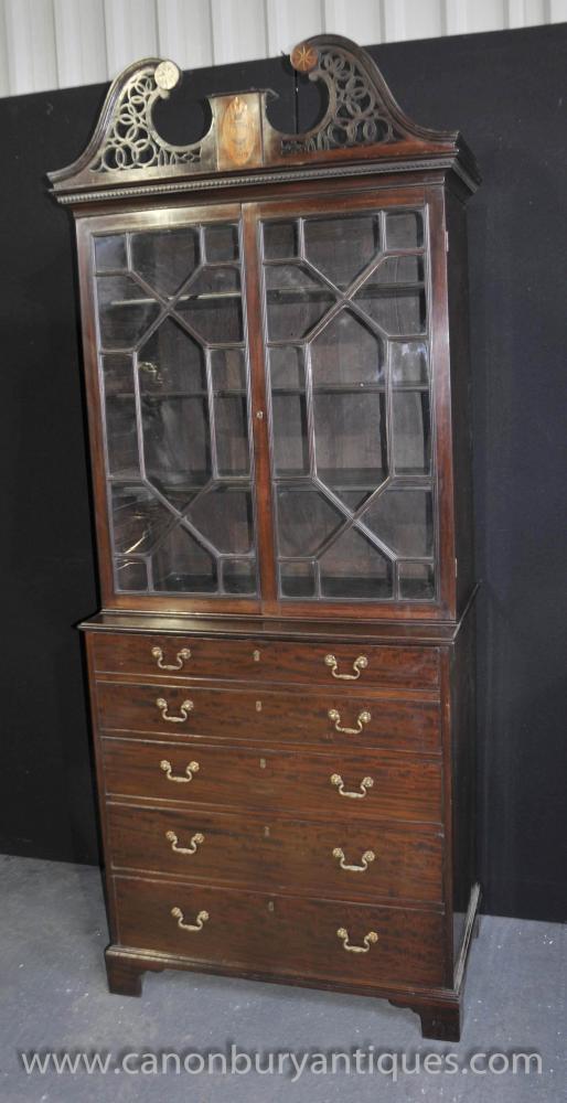 Antique George III Bureau Bookcase Desk Mahogany