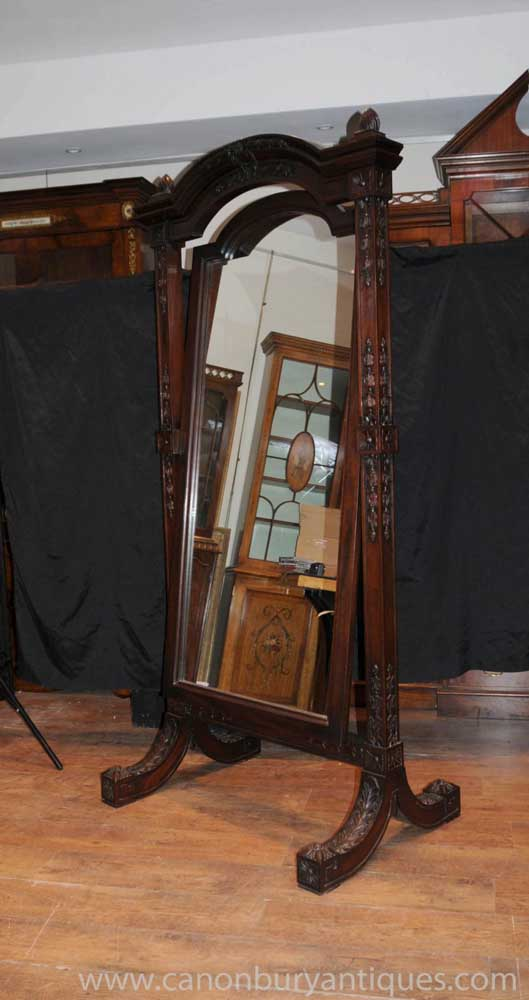 Antique Hand Carved French Cheval Mirror Mirrors Mahogany