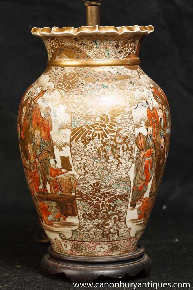 antique japanese satsuma porcelain table lamp light 1880. Black Bedroom Furniture Sets. Home Design Ideas