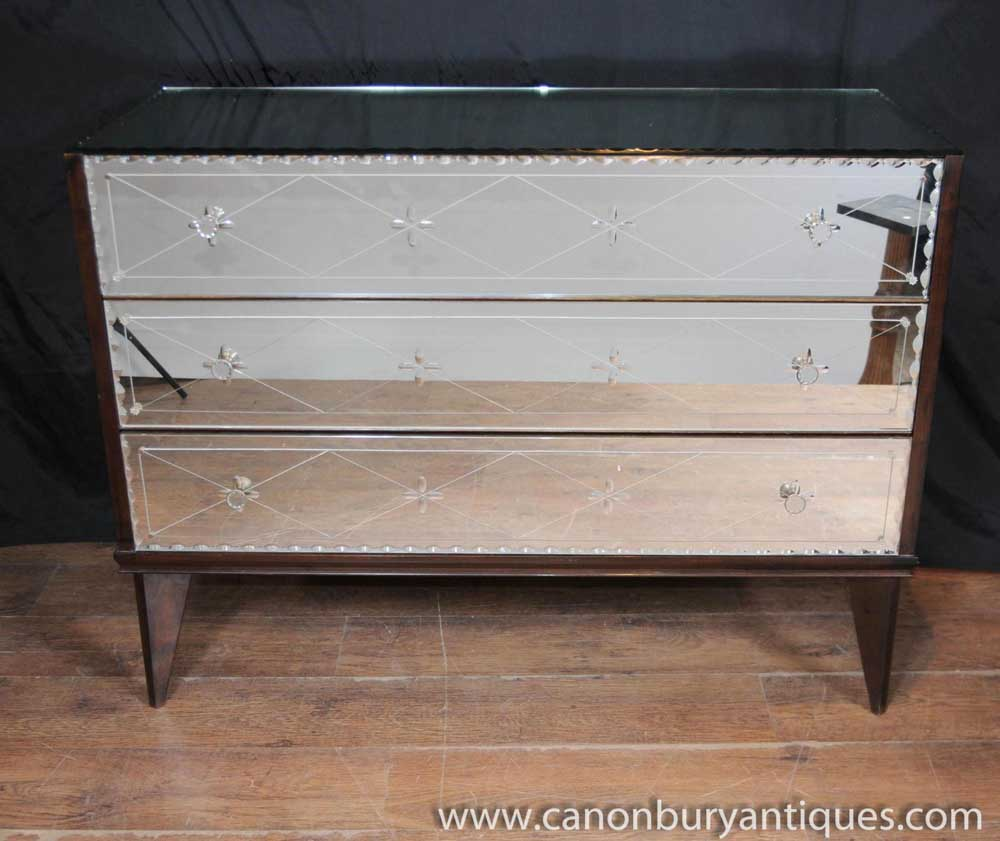 Antique Mirrored Art Deco Chest Drawers Commode Glass