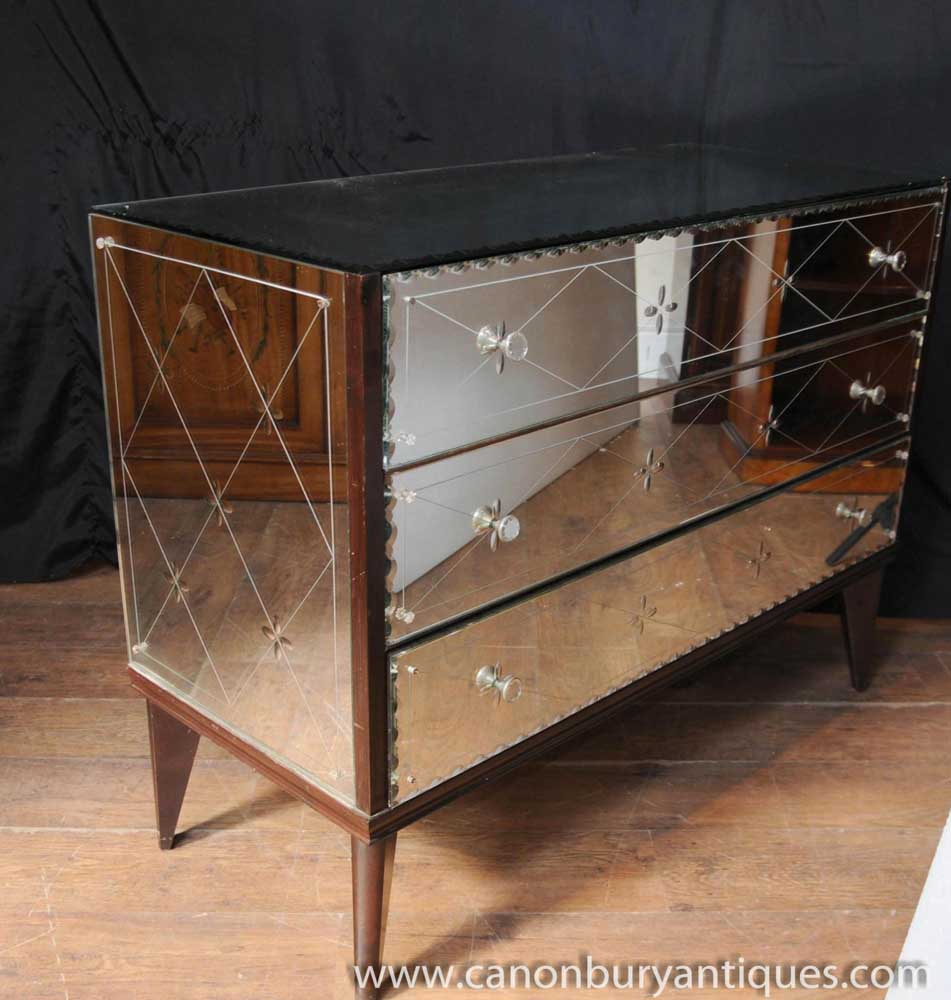Antique mirrored art deco chest drawers commode glass for Commode miroir art deco