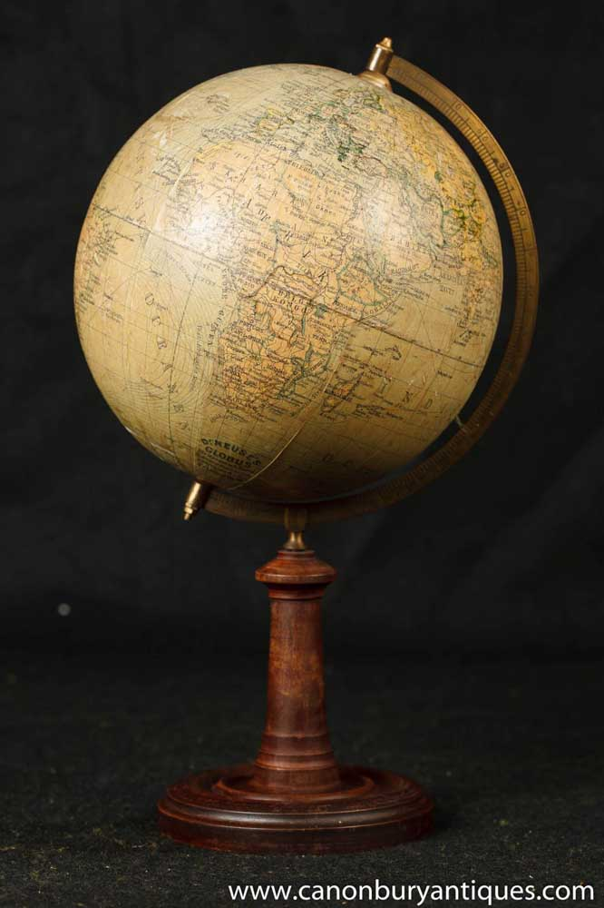 Antique Wooden Chairs >> Antique Swedish World Globe Map on Wooden Stand