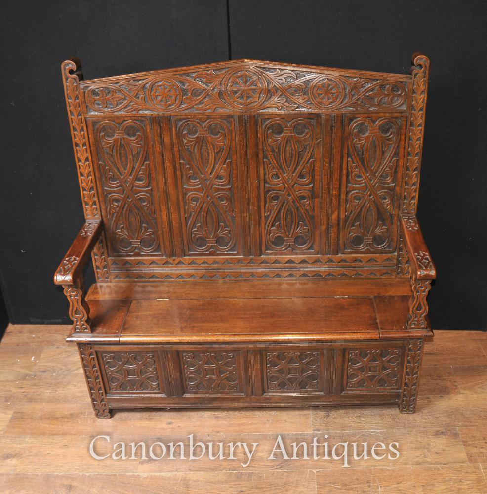 Antique 19th Century Celtic Monks Bench Settle Seat Carved Oak