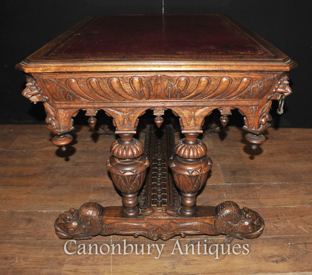 Antique 19th Century Carved Oak Library Table Desk Writing