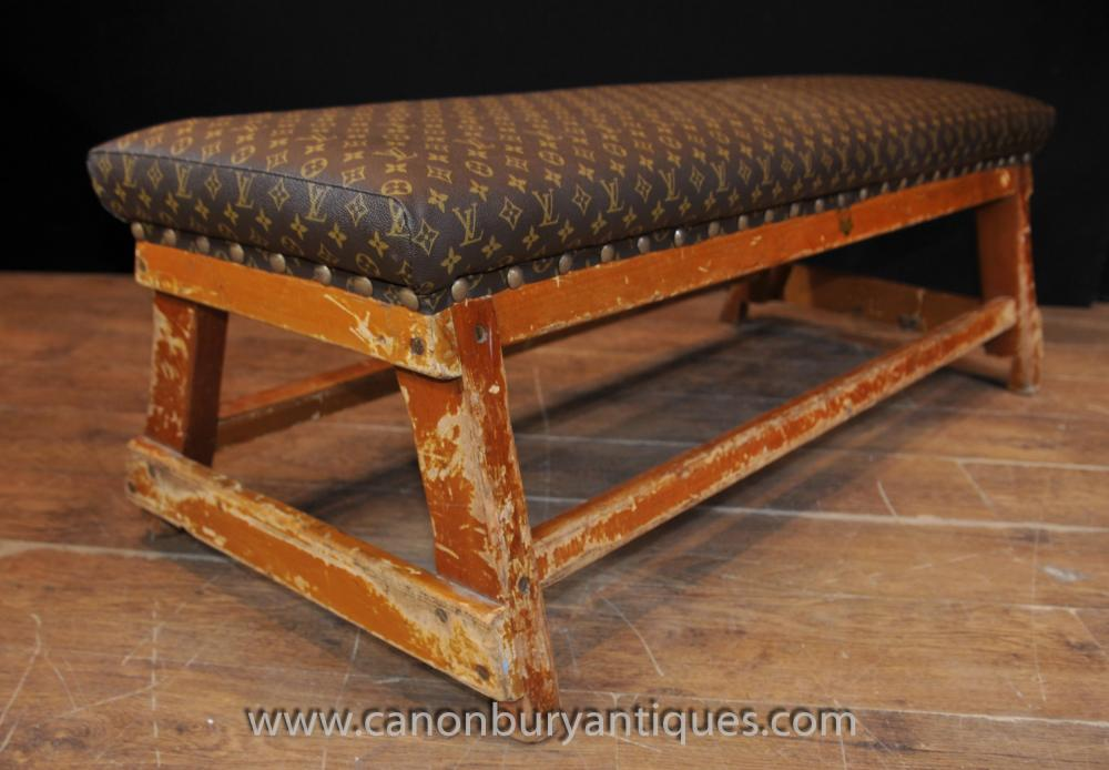 Antique Architectural Bench Stool Seat With Louis Vuitton