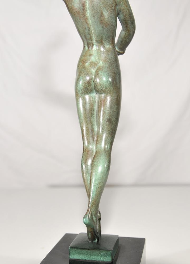 Antique Art Deco Bronze Dancer Figurine Signed Guerbe Original