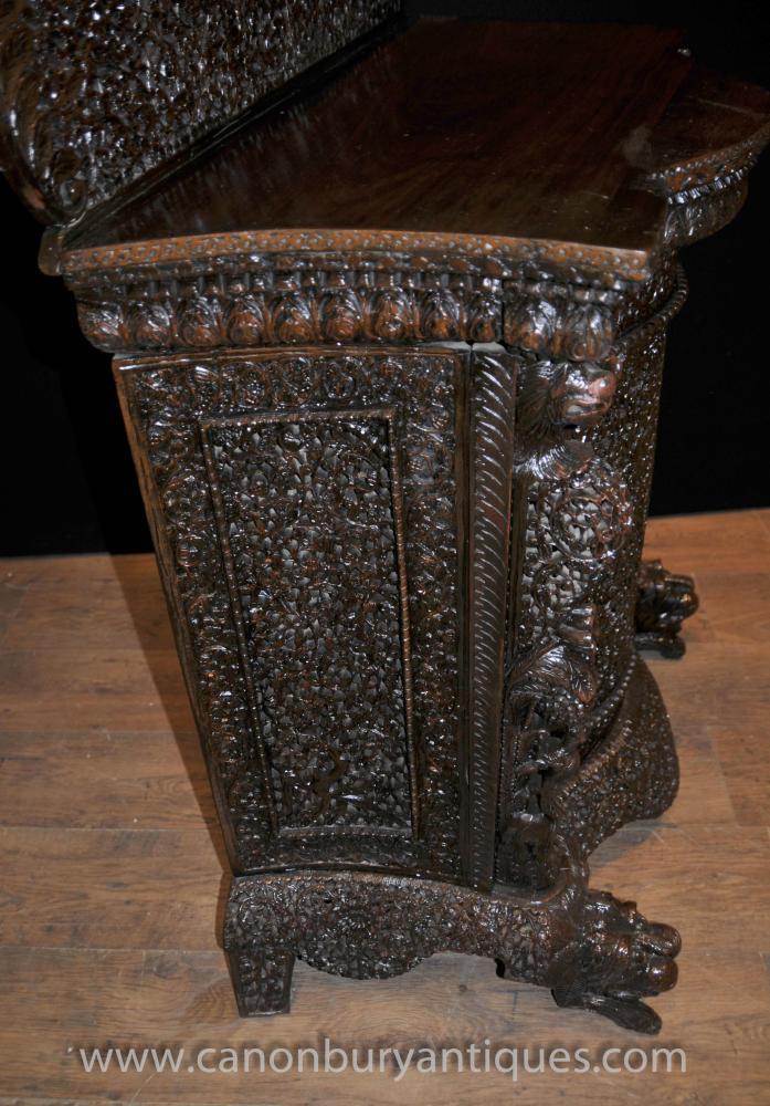 Antique Burmese Hand Carved Cabinet Sideboard Server Chest