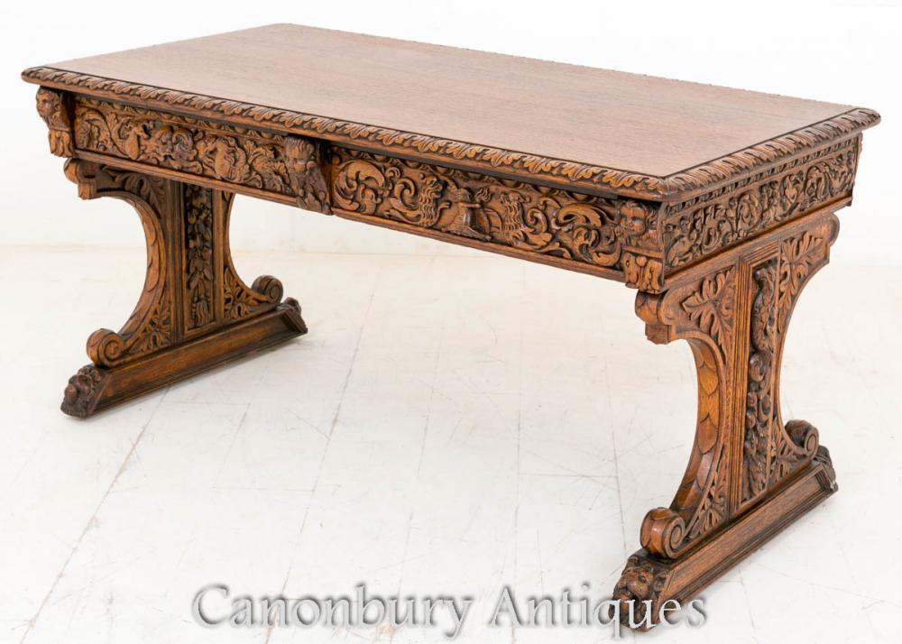 Astounding Antique Carved Oak Library Table Baroque Writing Table Desk Download Free Architecture Designs Scobabritishbridgeorg