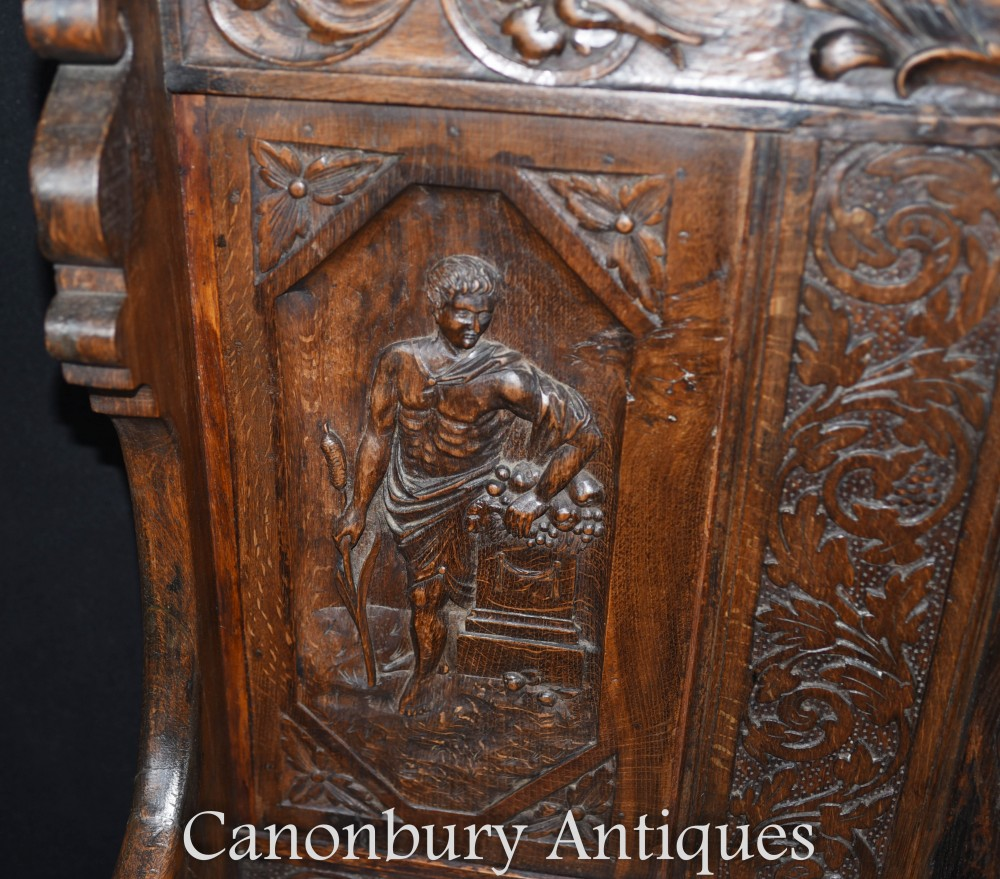 Antique Carved Oak Settle 18th Century Monks Bench Seat