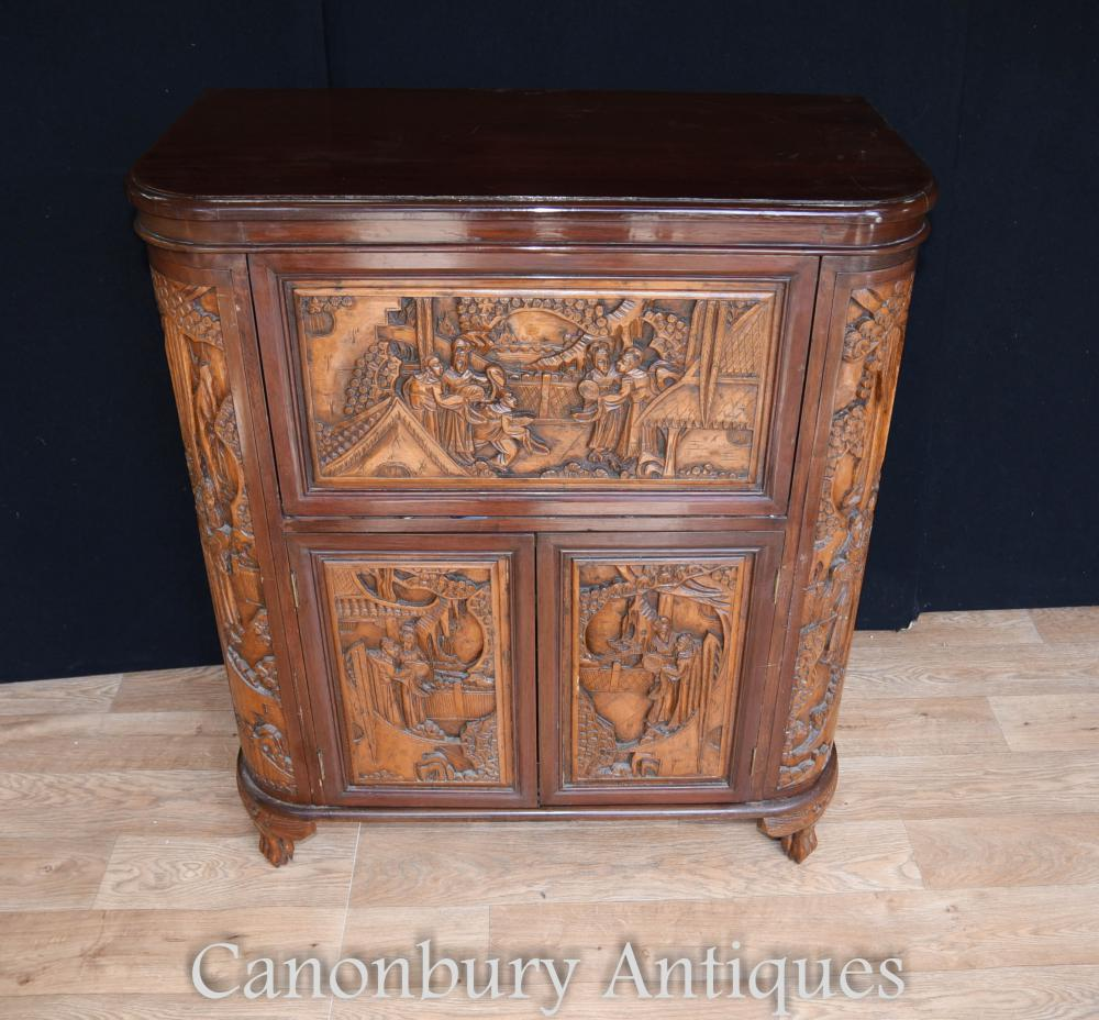 Antique chinese camphor wood drinks cabinet carved for Carved kitchen cabinets