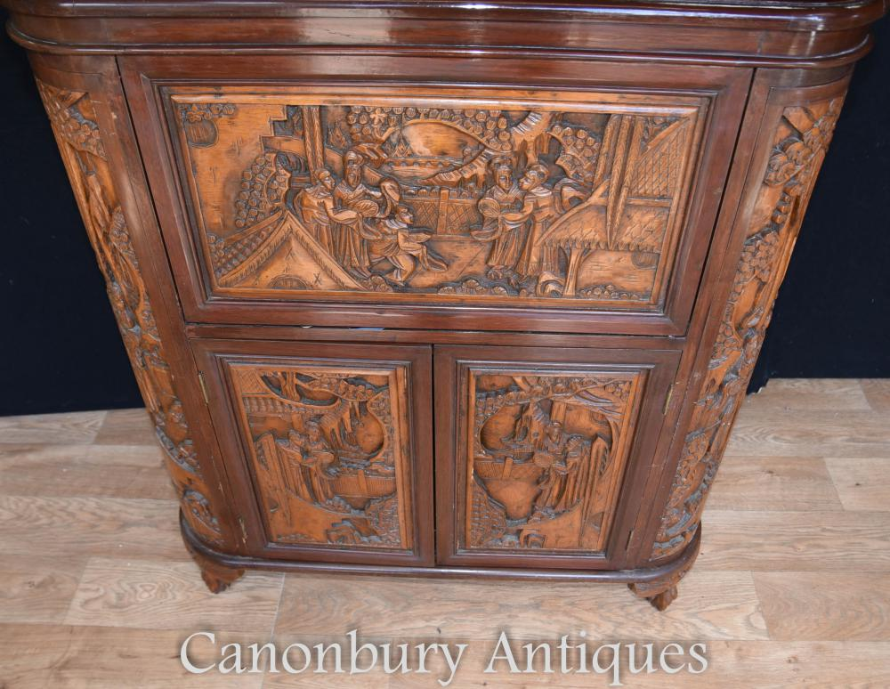 Antique chinese camphor wood drinks cabinet carved for Antique asian cabinet