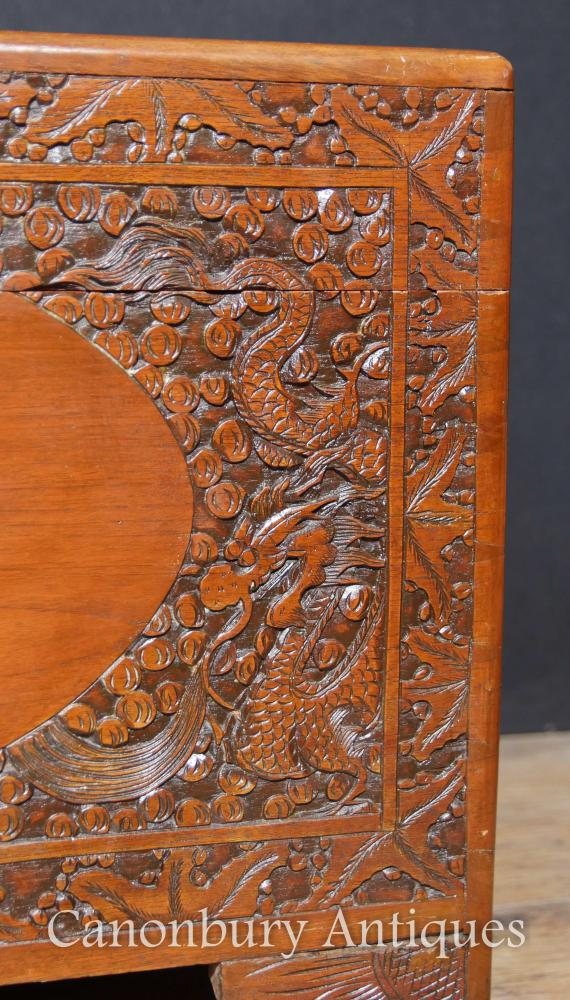 Antique Chinese Carved Camphor Wood Chest Luggage Trunk Table