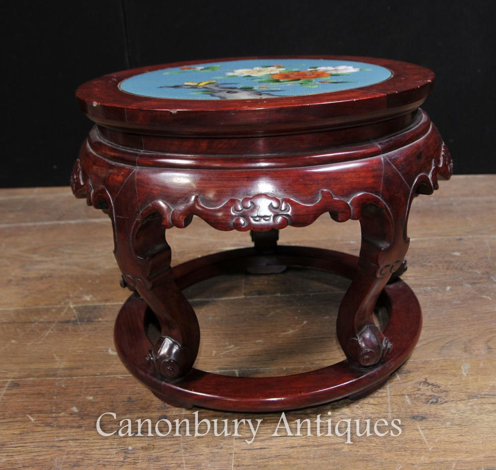 Antique chinese cloisonne hardwood pedestal stand table for Cloison stand