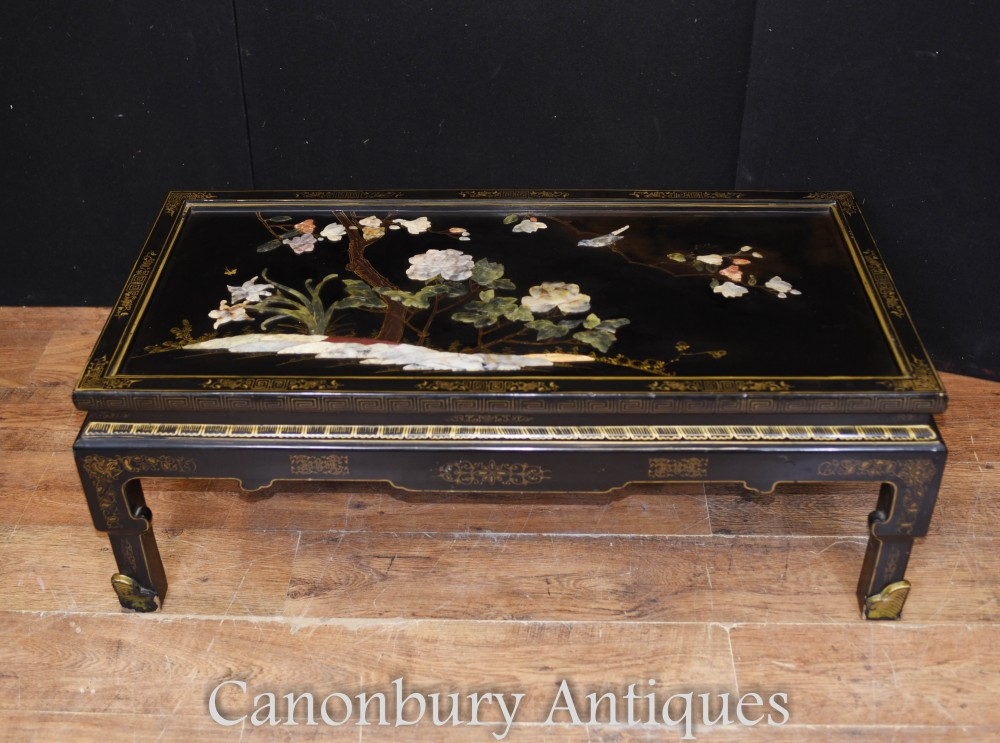 Details About Antique Chinese Coffee Table Black Lacquer 1920