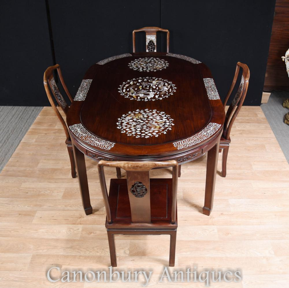 Chinese Dining Table: Antique Chinese Dining Set Table And Chairs Mother Of