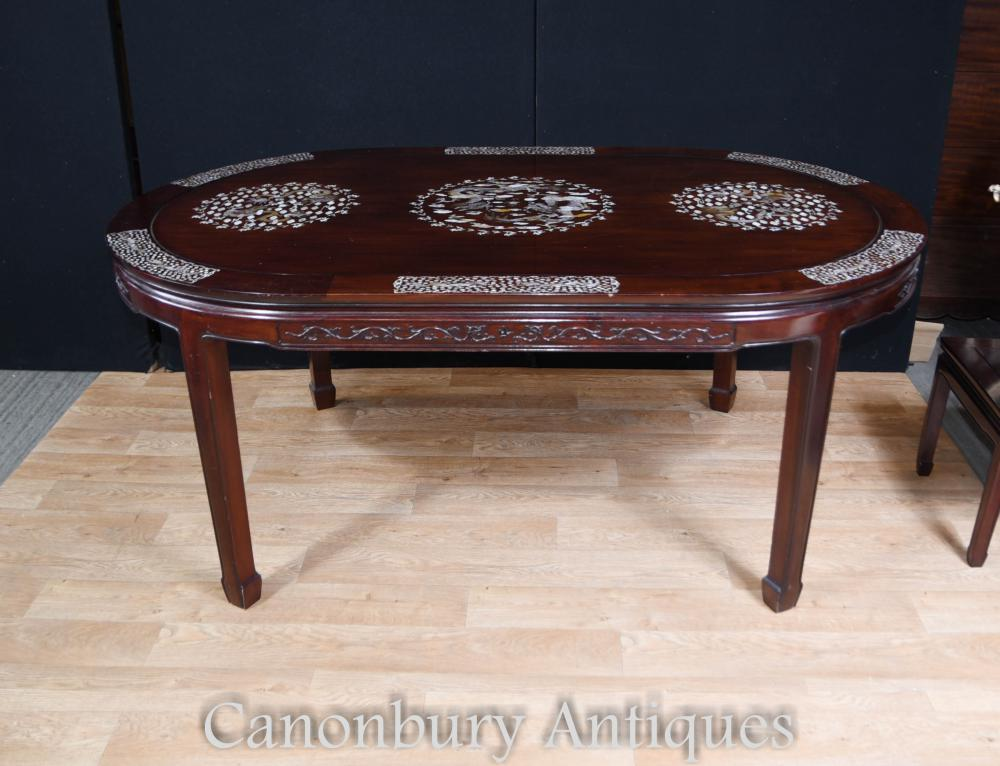 Antique Chinese Dining Set Table and Chairs Mother of ...