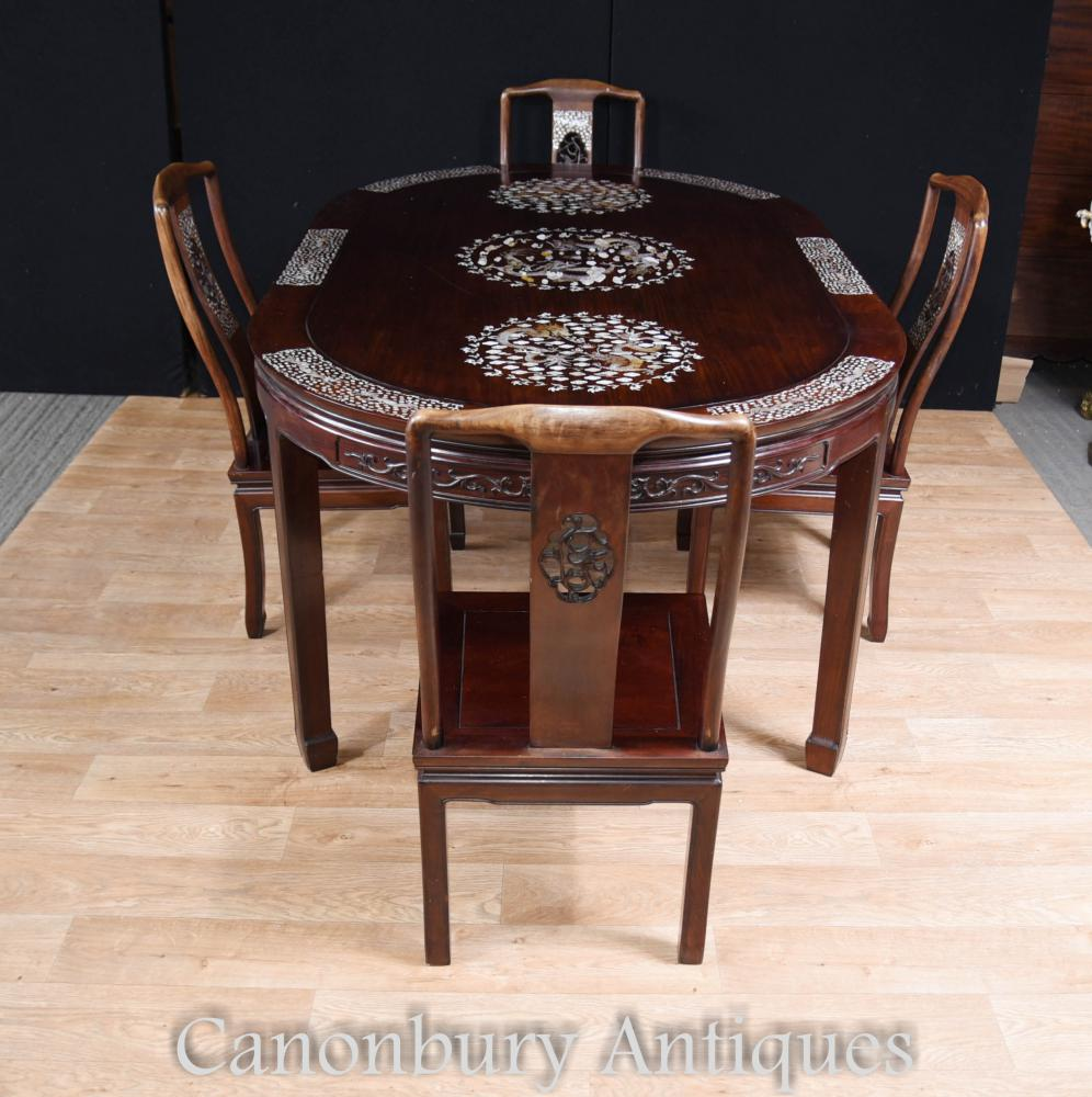 Antique chinese dining set table and chairs mother of for Oriental dining table