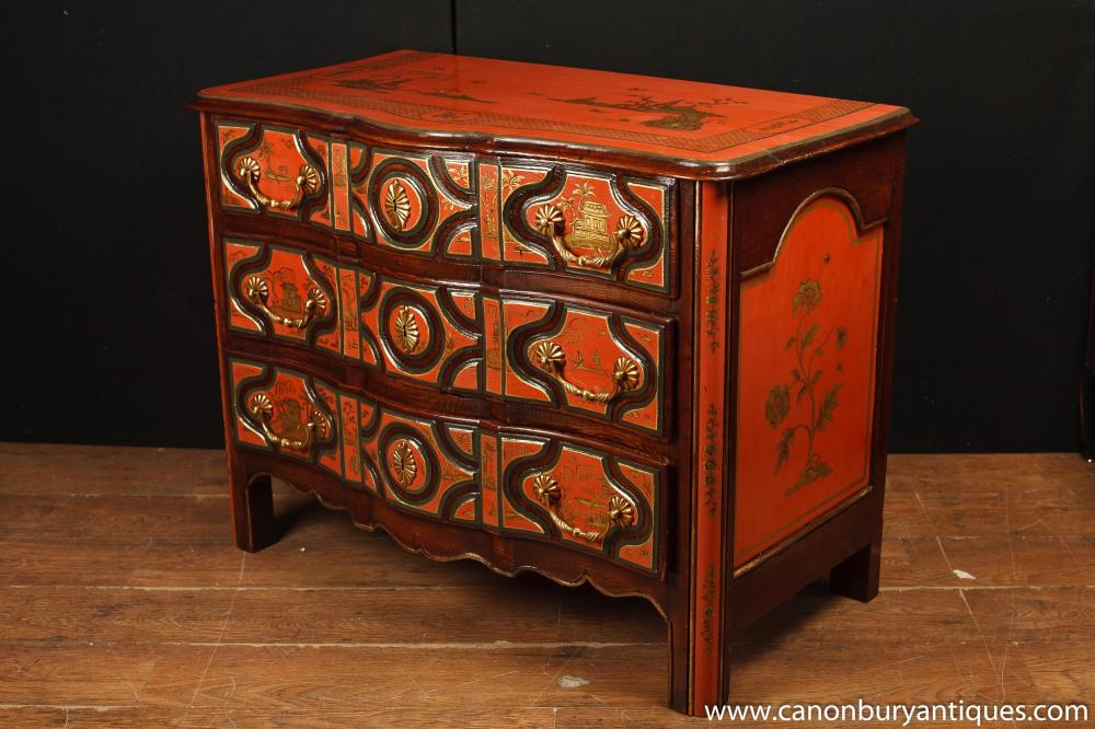 Antique Chinese Red Lacquer Chest Drawers Chinoserie