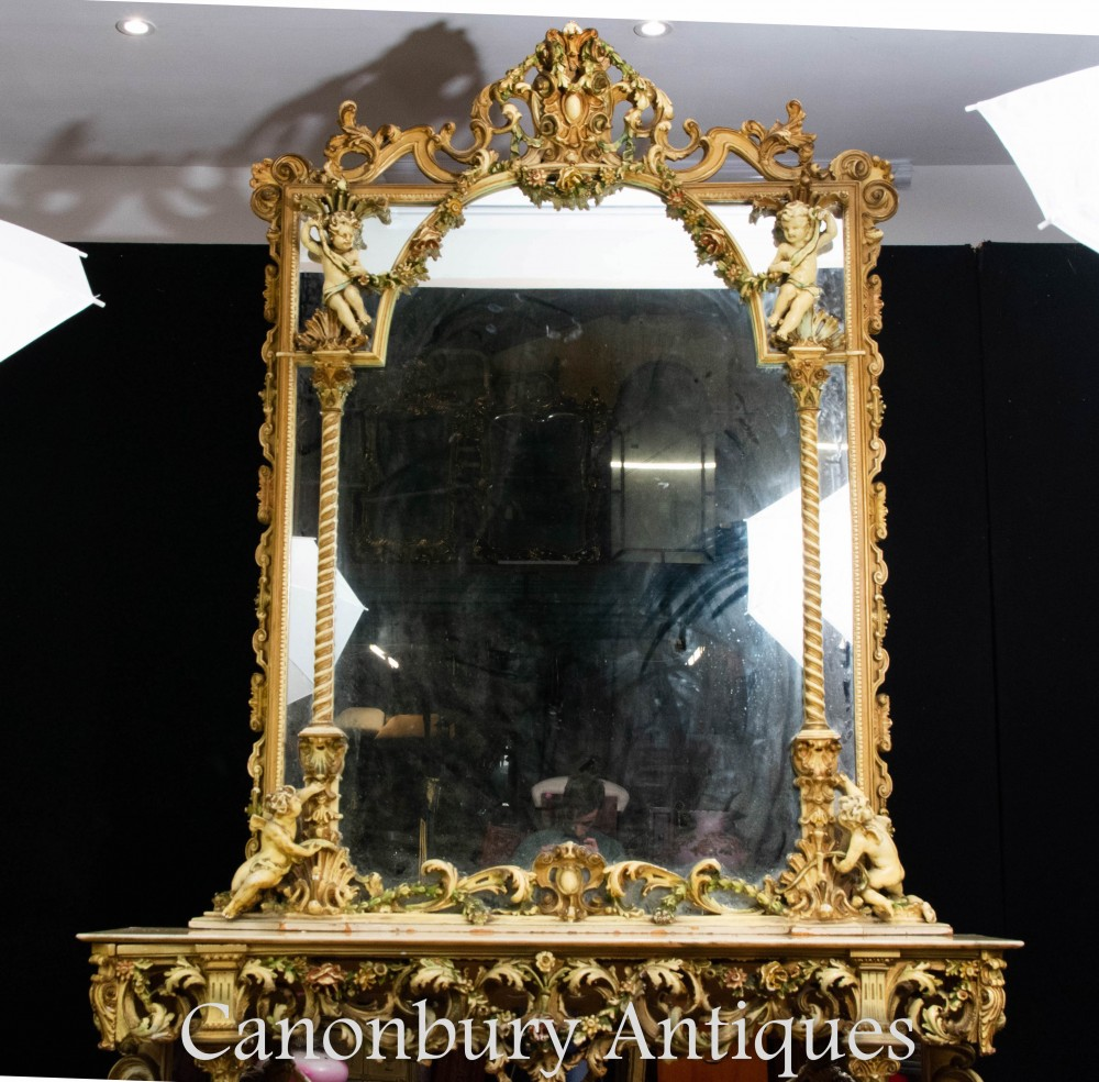 Antique Florentine Console Table And Mirror Carved Italian Circa 1890