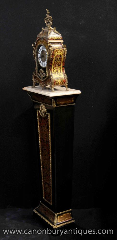 Antique French Boulle Mantle Clock On Pedestal Stand