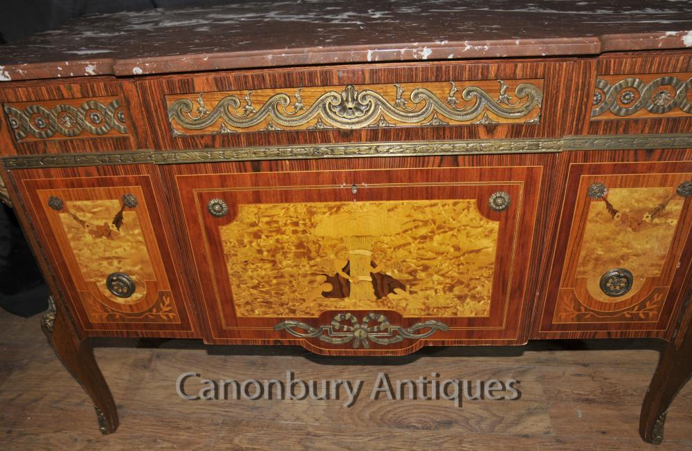 Antique French Chest Drawers Commode Cherub Inlay Empire