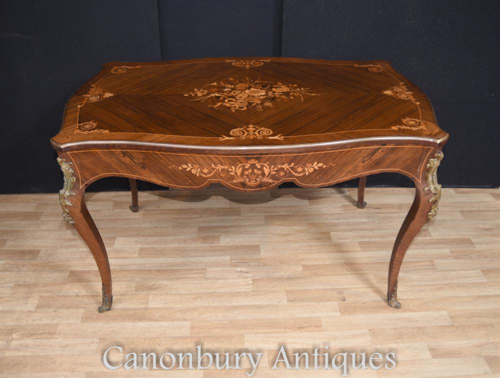 Antique french empire bureau plat desk library table for Bureau french