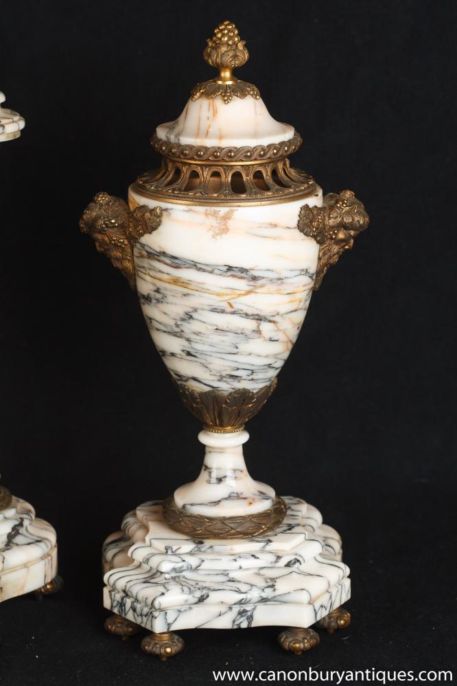 Antique French Empire Marble Clock Set Garniture Urns Atlas